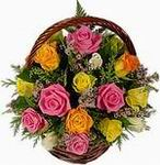 Multicoloured Roses Basket